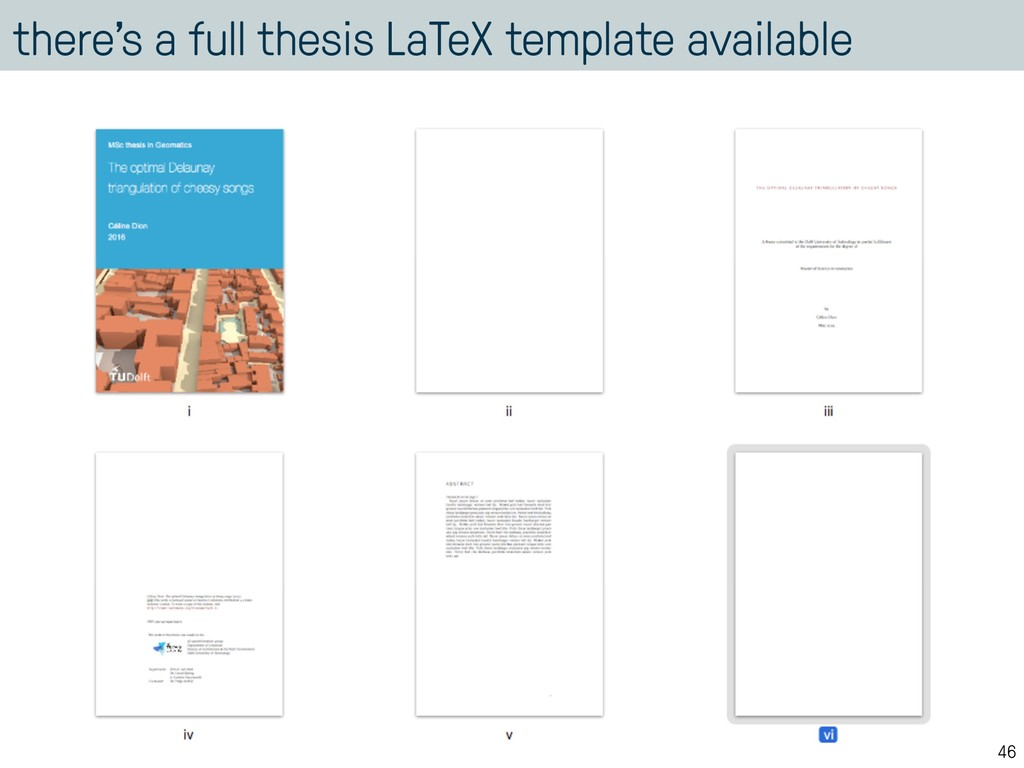 there's a full thesis LaTeX template available ...