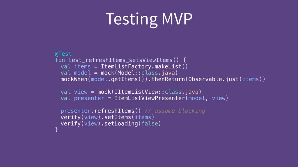 Testing MVP @Test fun test_refreshItems_setsVi...
