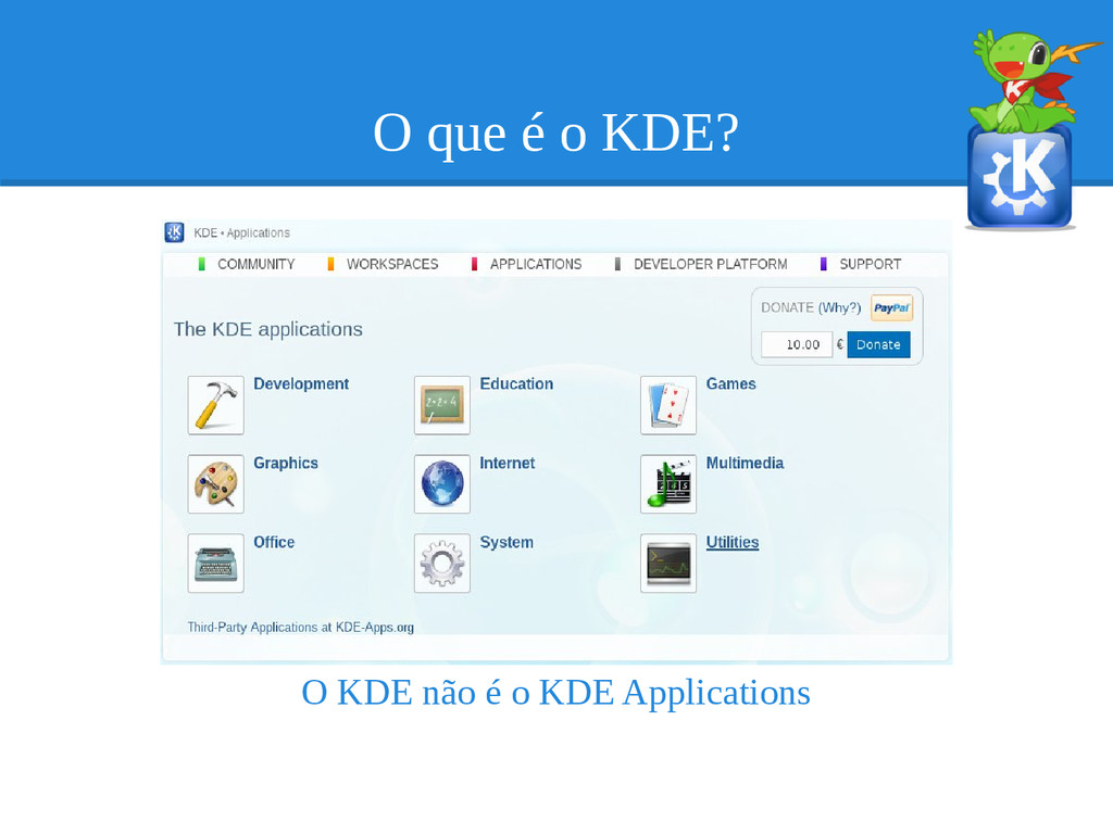 O que é o KDE? O KDE não é o KDE Applications