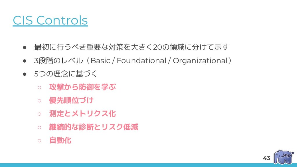 CIS Controls ● 最初に行うべき重要な対策を大きく20の領域に分けて示す ● 3段...