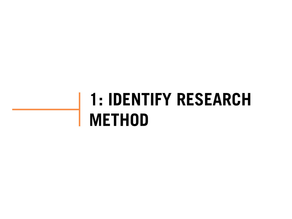 1: IDENTIFY RESEARCH METHOD