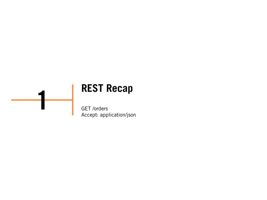 REST Recap GET /orders Accept: application/json...