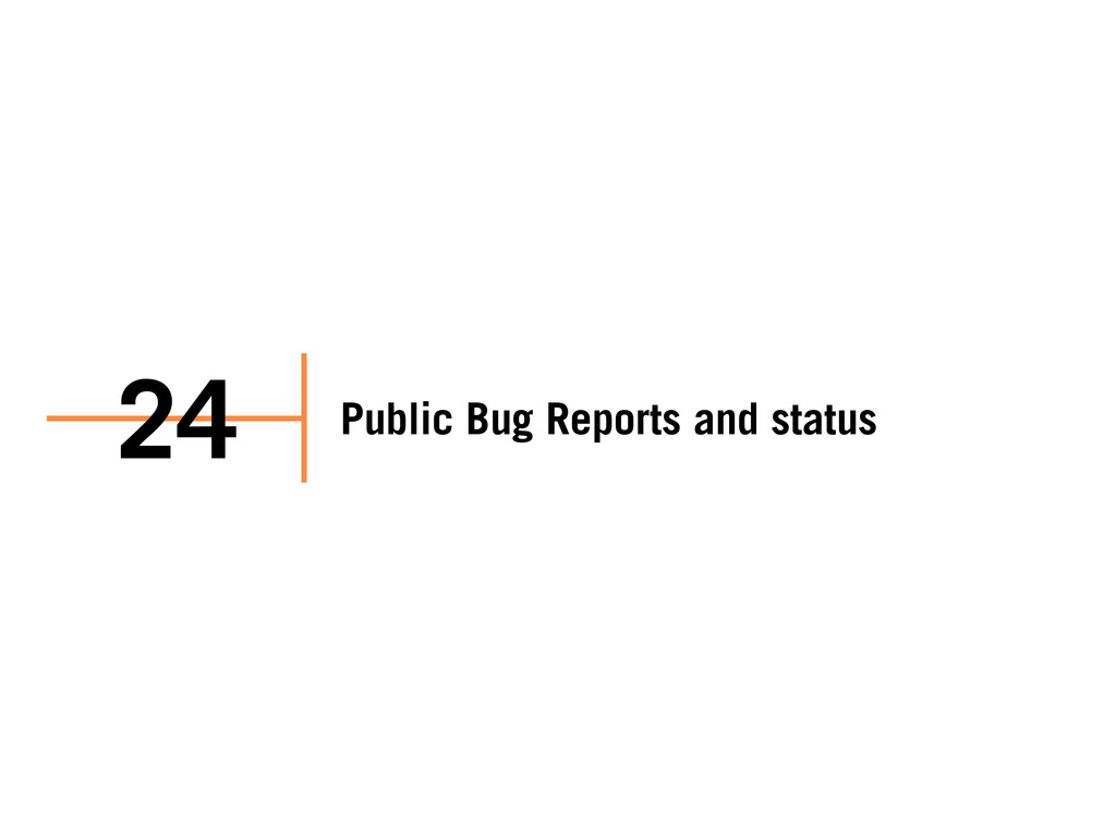Public Bug Reports and status 24