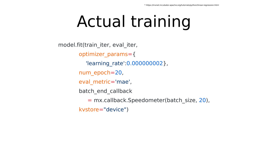 Actual training model.fit(train_iter, eval_iter...
