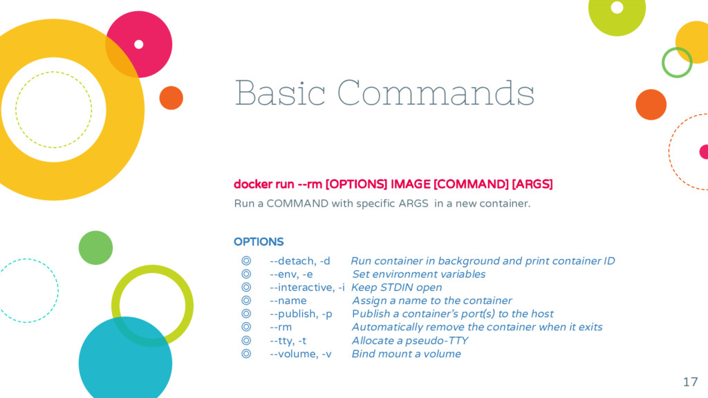 Basic Commands docker run --rm [OPTIONS] IMAGE ...