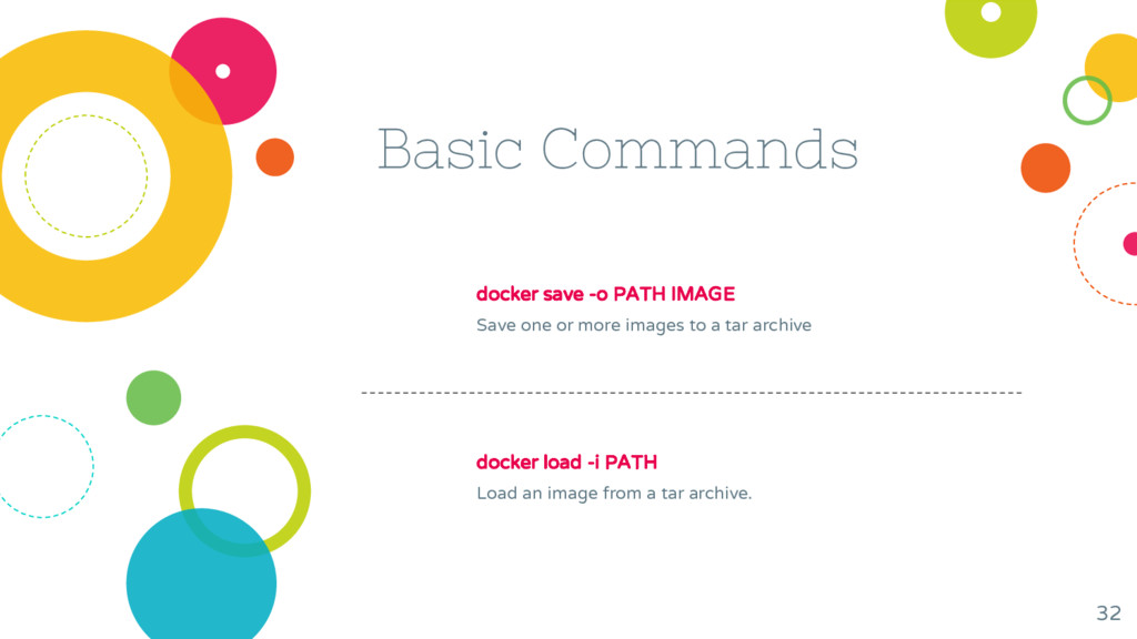Basic Commands docker save -o PATH IMAGE Save o...