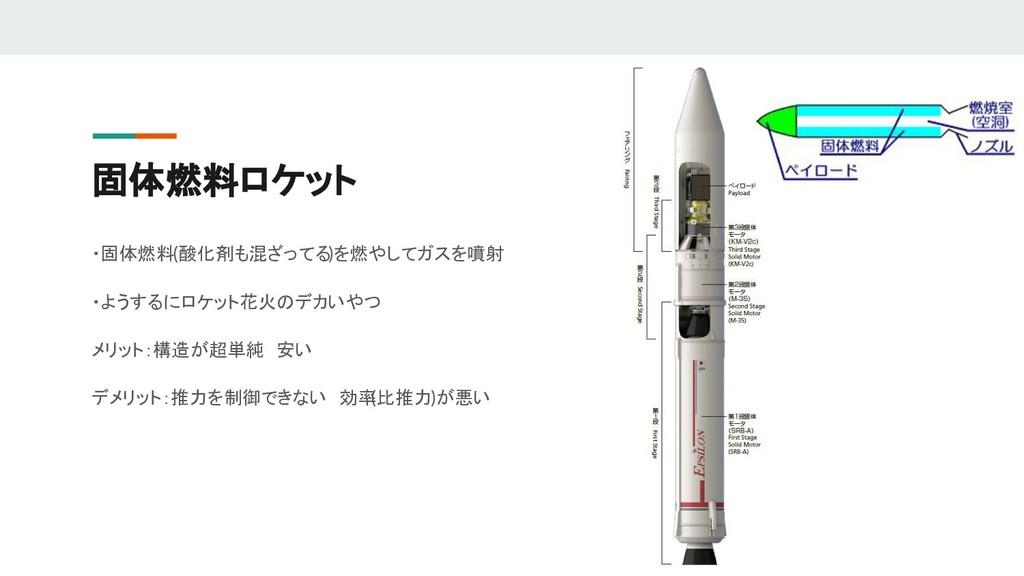 固体燃料ロケット ・固体燃料(酸化剤も混ざってる)を燃やしてガスを噴射 ・ようするにロケット花...
