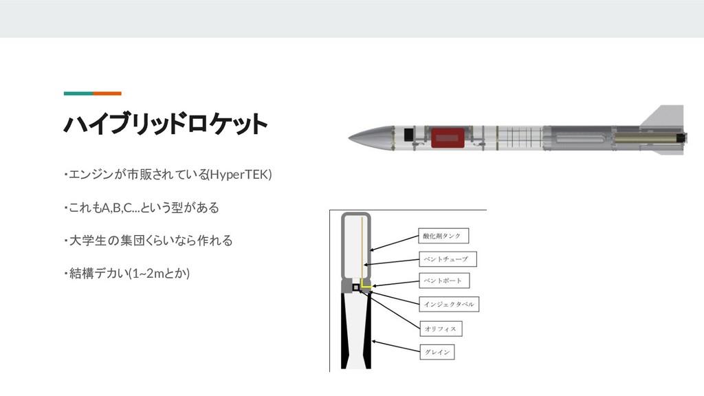 ハイブリッドロケット ・エンジンが市販されている (HyperTEK) ・これもA,B,C.....