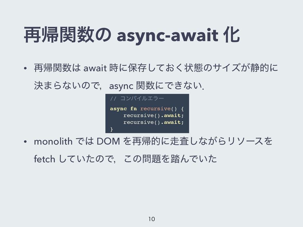 ࠶ؼؔͷ async-await Խ • ࠶ؼؔ await ʹอଘ͓ͯ͘͠ঢ়ଶͷαΠ...