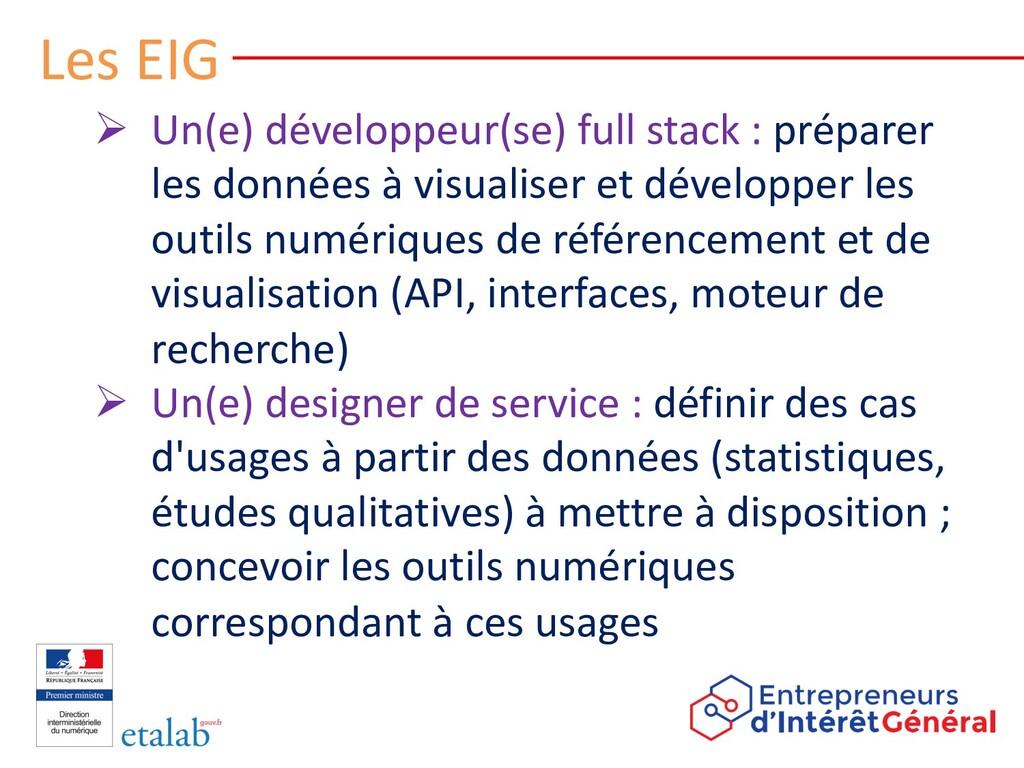 Les EIG Ø Un(e) développeur(se) full stack : pr...