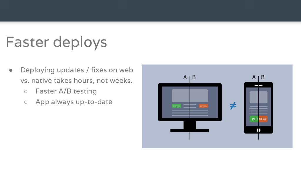 Faster deploys ● Deploying updates / fixes on w...