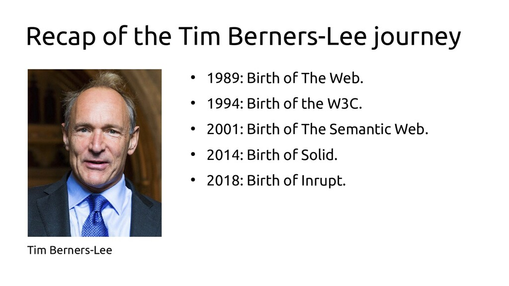 Recap of the Tim Berners-Lee journey ● 1989: Bi...