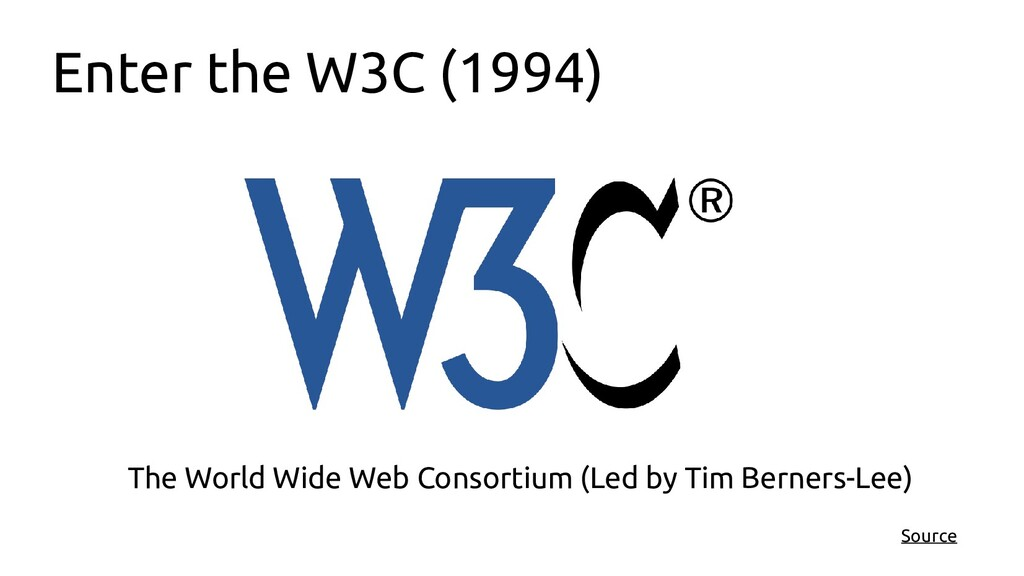 Enter the W3C (1994) The World Wide Web Consort...