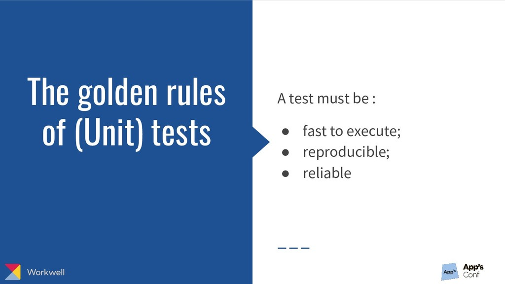 The golden rules of (Unit) tests A test must be...