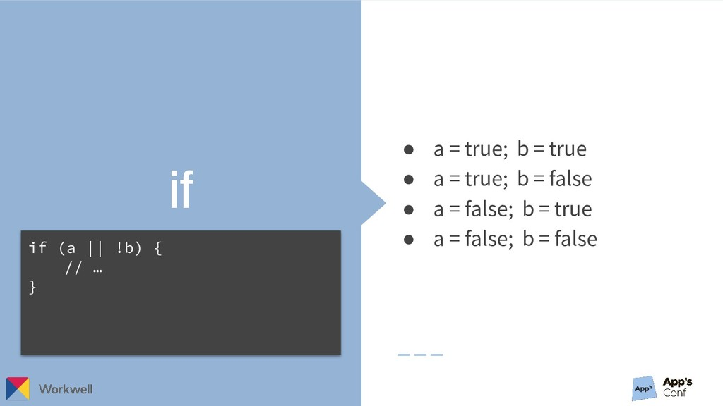 if ● a = true; b = true ● a = true; b = false ●...