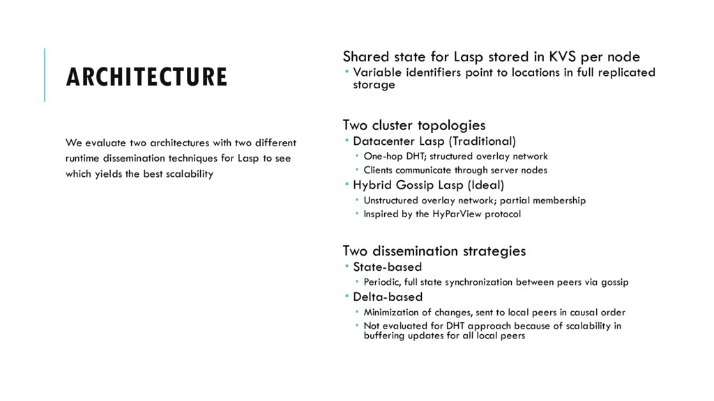 ARCHITECTURE Shared state for Lasp stored in KV...