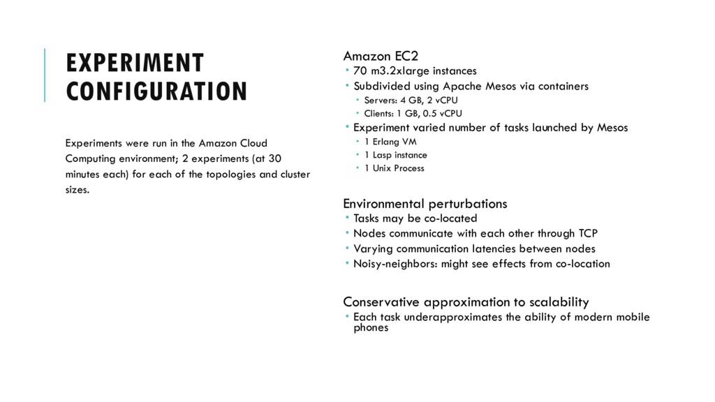 EXPERIMENT CONFIGURATION Amazon EC2  70 m3.2xl...