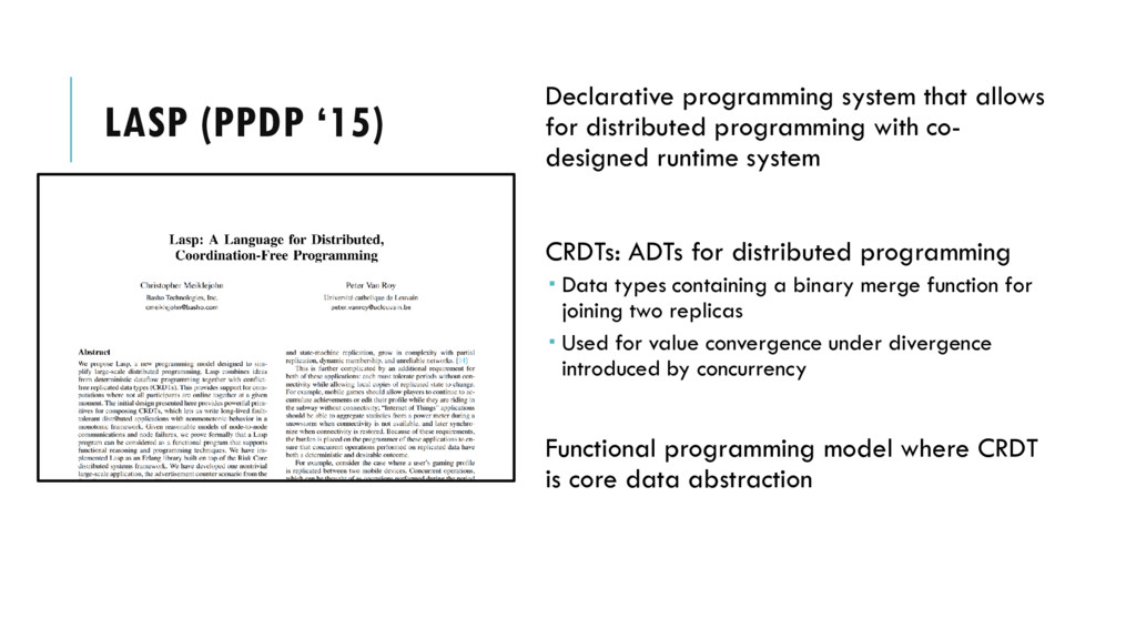 LASP (PPDP '15) Declarative programming system ...
