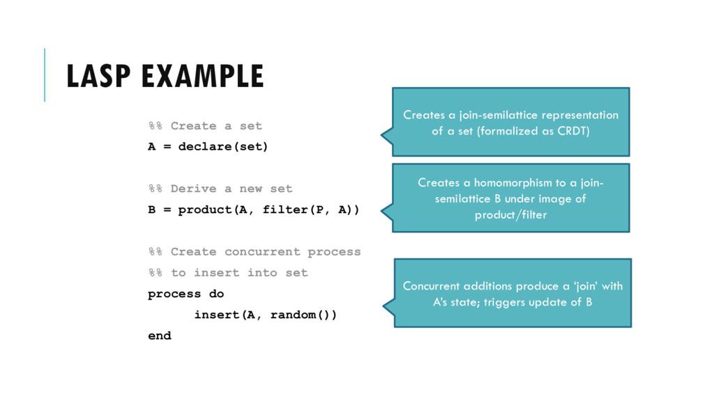 LASP EXAMPLE %% Create a set A = declare(set) %...