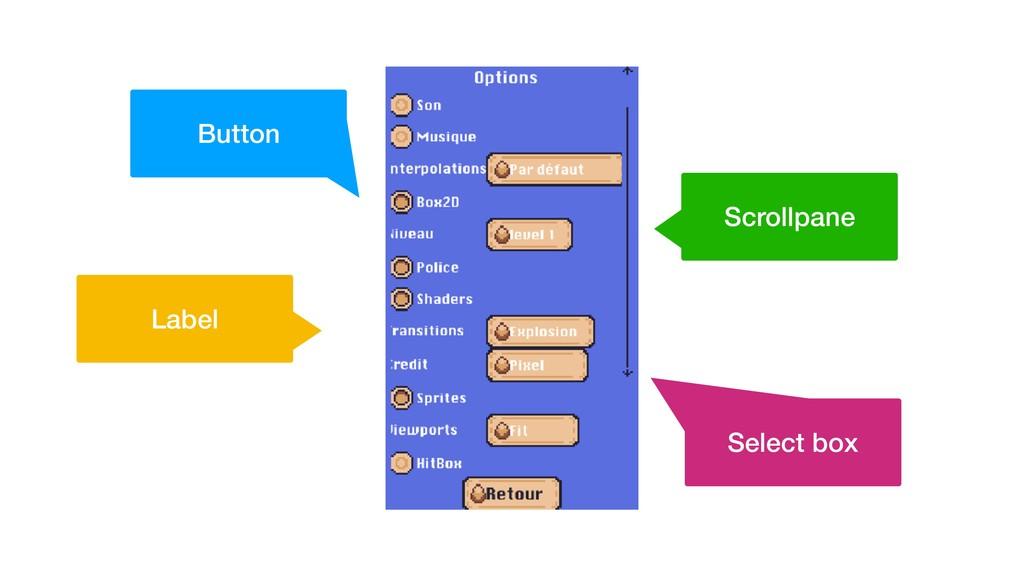 Scrollpane Label Button Select box