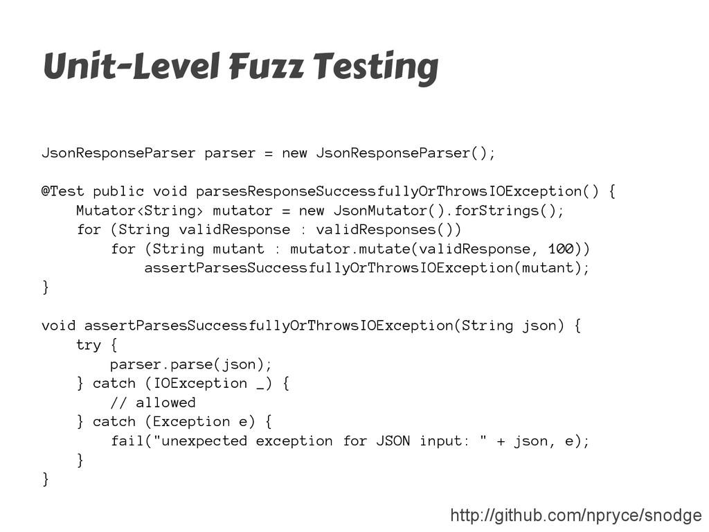 Unit-Level Fuzz Testing JsonResponseParser pars...