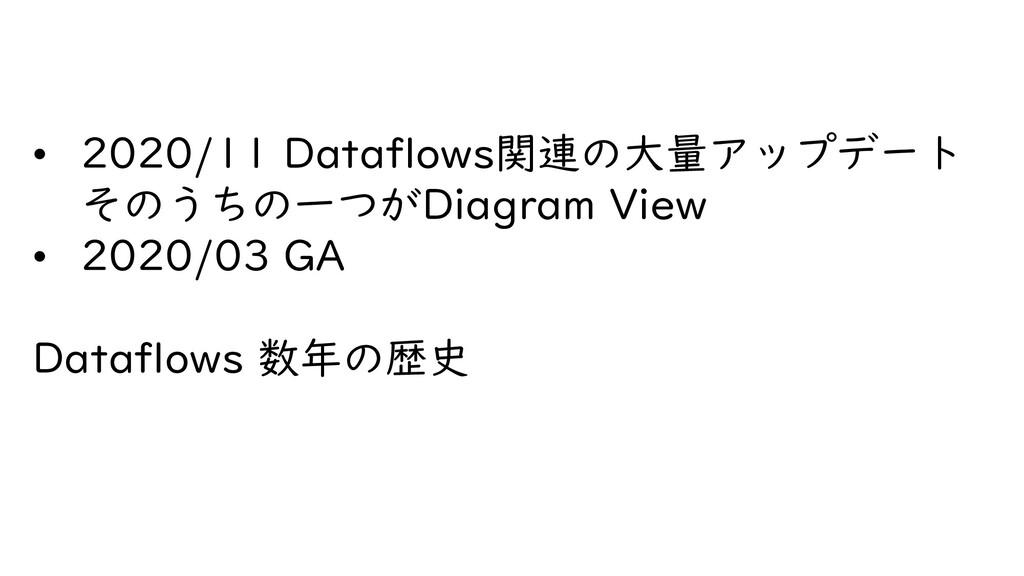 • 2020/11 Dataflows関連の大量アップデート そのうちの一つがDiagram ...