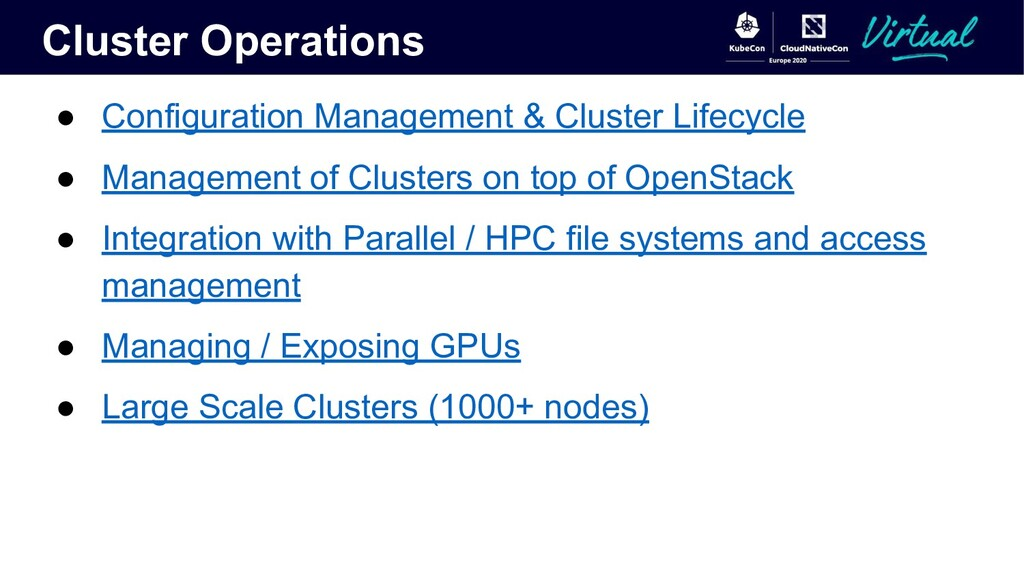 Cluster Operations ● Configuration Management &...