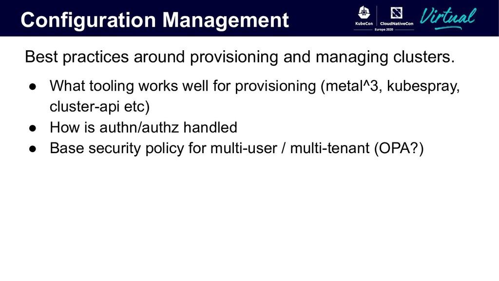 Configuration Management Best practices around ...
