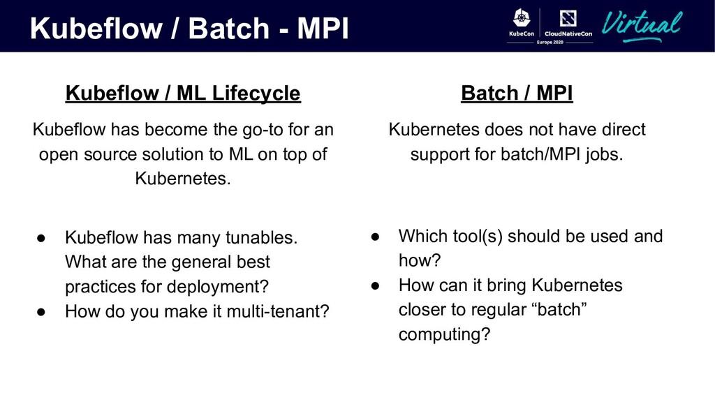 Kubeflow / Batch - MPI Kubeflow / ML Lifecycle ...