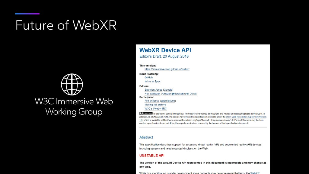 Future of WebXR W3C Immersive Web 
