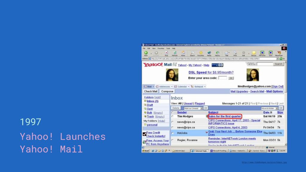 1997 Yahoo! Launches Yahoo! Mail http://www.tim...