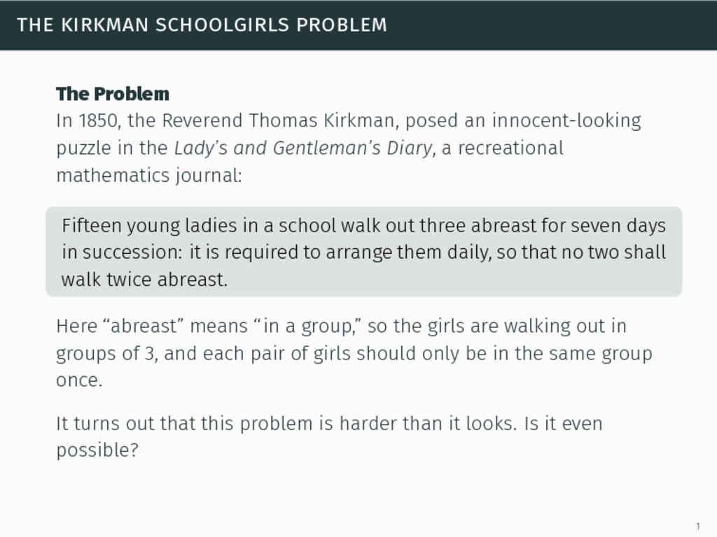 the kirkman schoolgirls problem The Problem In ...