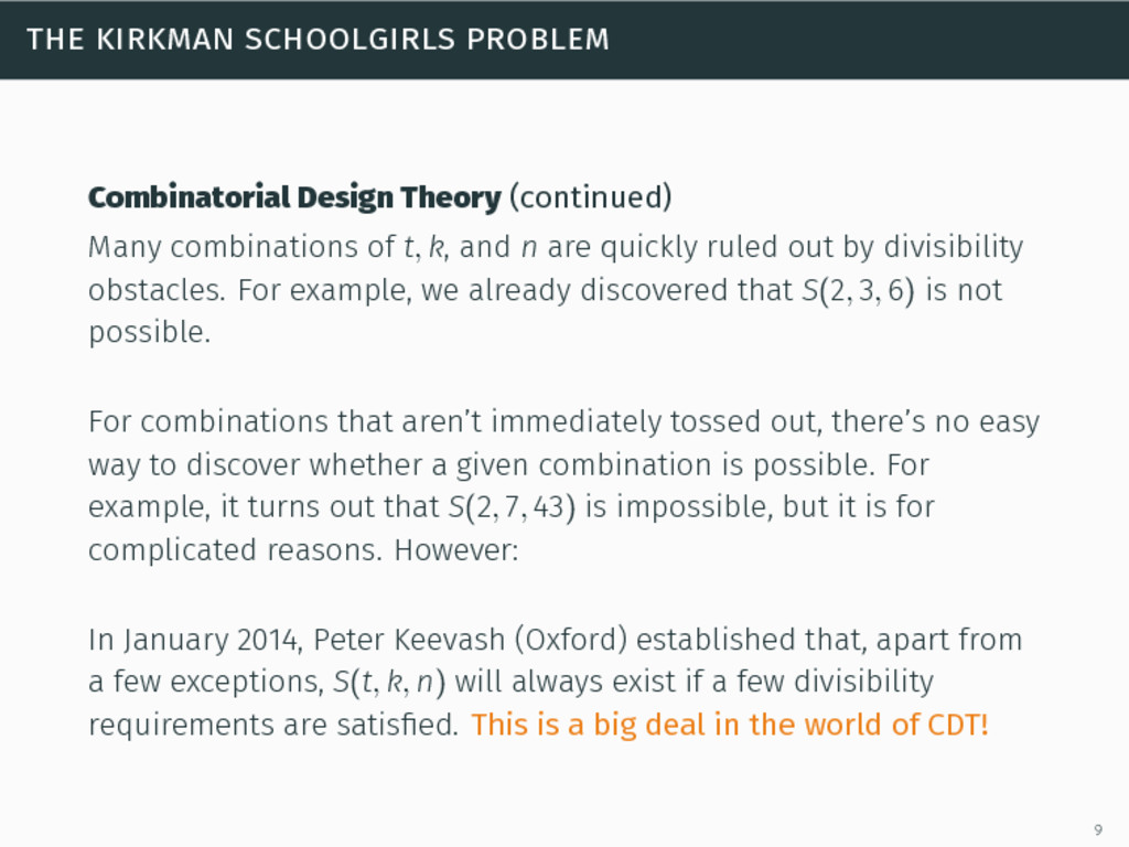 the kirkman schoolgirls problem Combinatorial D...