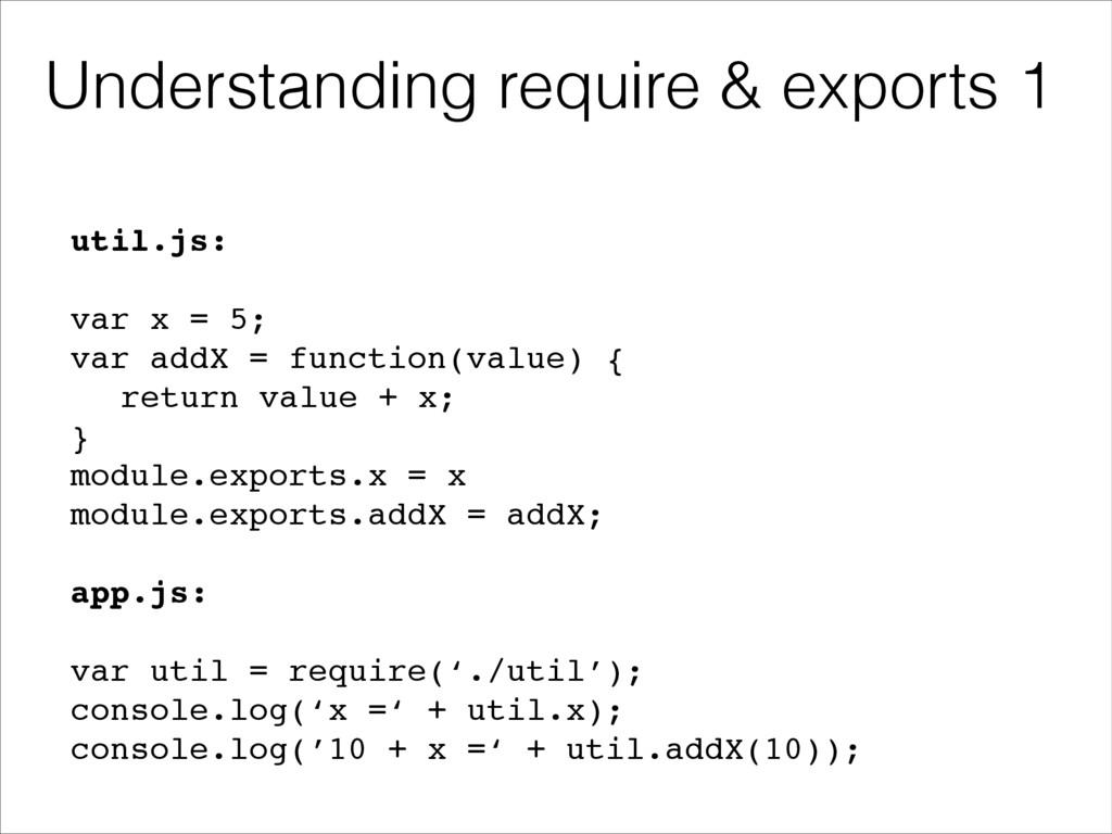 util.js:! ! var x = 5;! var addX = function(val...