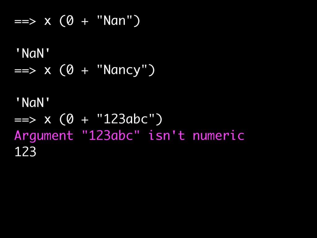 """==> x (0 + """"Nan"""") 'NaN' ==> x (0 + """"Nancy"""") 'Na..."""