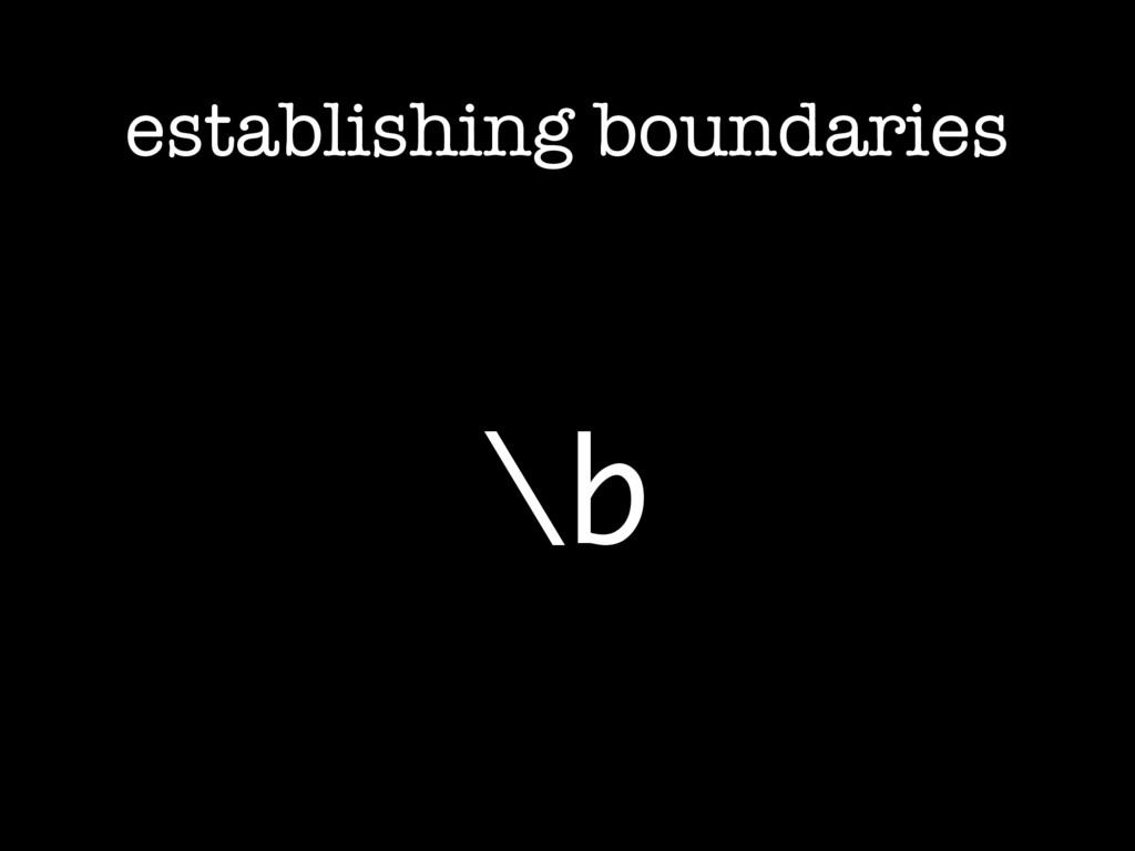 establishing boundaries \b