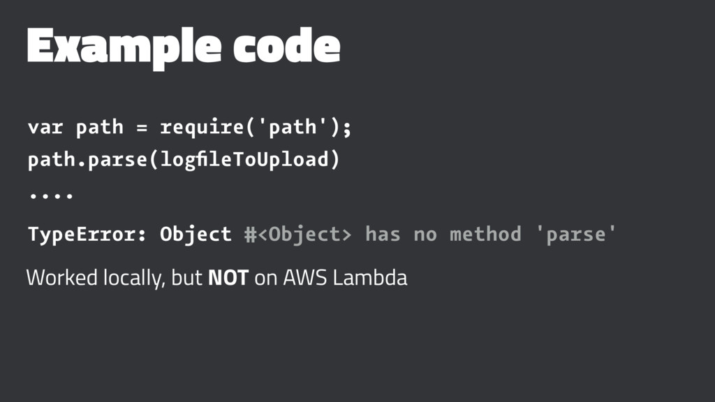 Example code var path = require('path'); path.p...