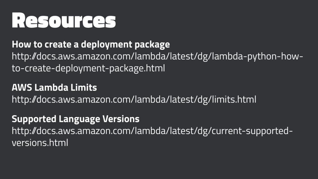 Resources How to create a deployment package ht...
