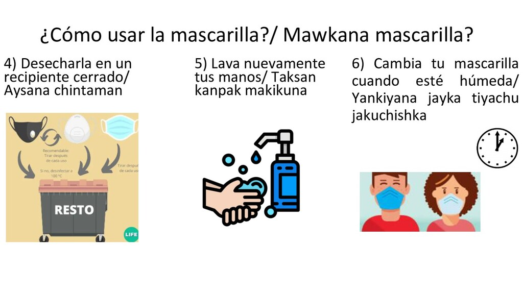 ¿Cómo usar la mascarilla?/ Mawkana mascarilla? ...