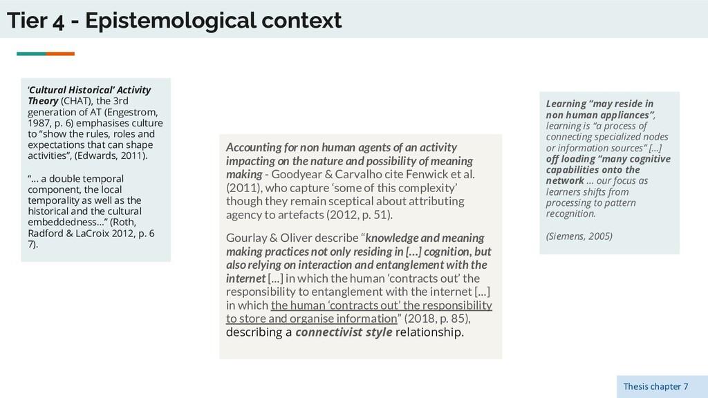 Tier 4 - Epistemological context 'Cultural Hist...