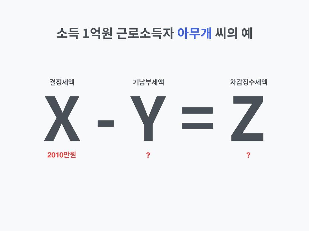 X - Y = Z 소득 1억원 근로소득자 아무개 씨의 예 2010݅ਗ ? ? Ѿঘ...