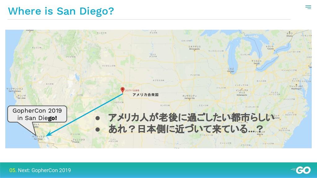 Where is San Diego? 05. Next: GopherCon 2019 Go...