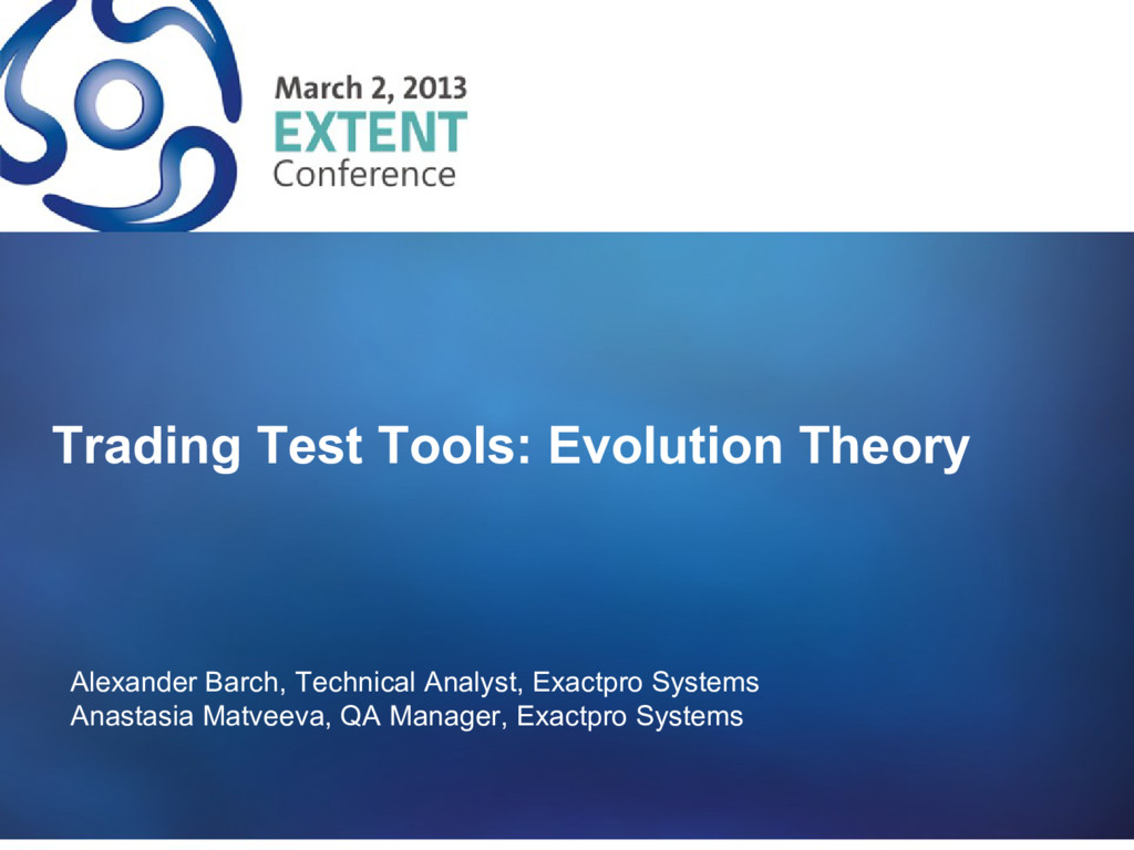 Trading Test Tools: Evolution Theory Alexander ...