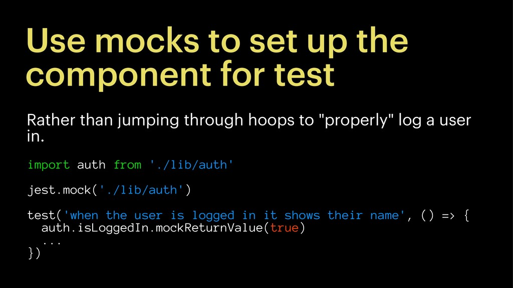 Use mocks to set up the component for test Rath...