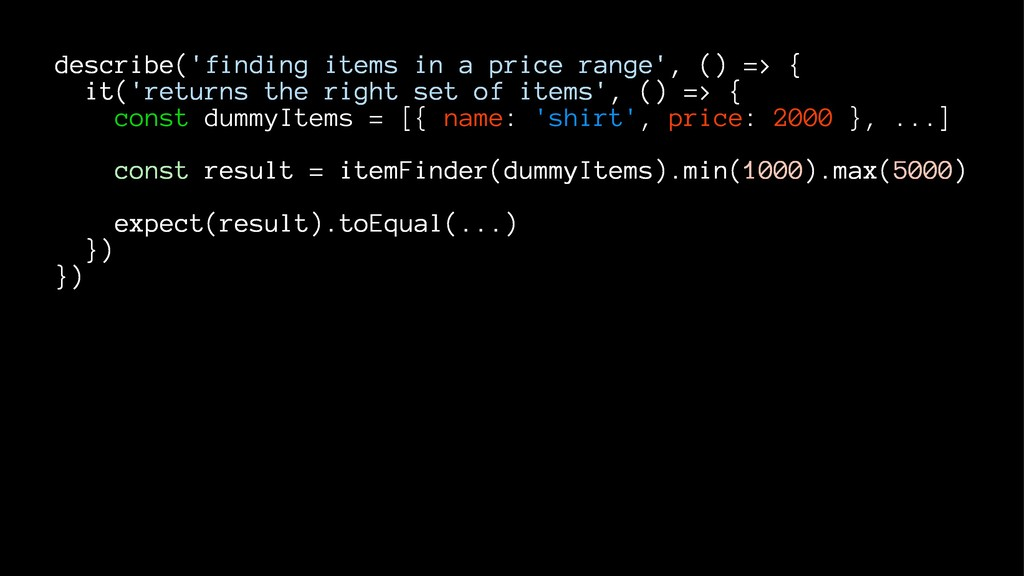 describe('finding items in a price range', () =...
