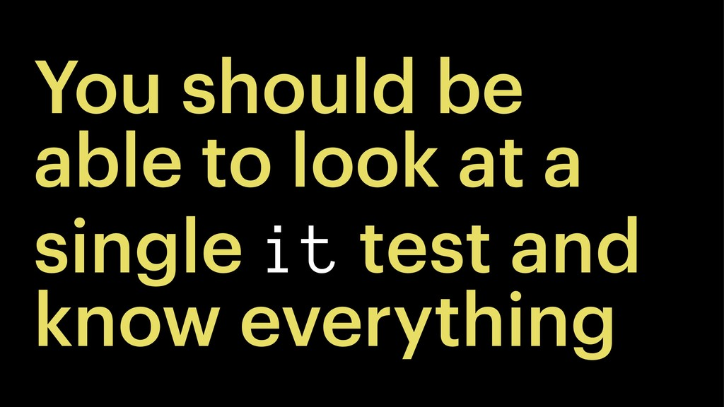 You should be able to look at a single it test ...