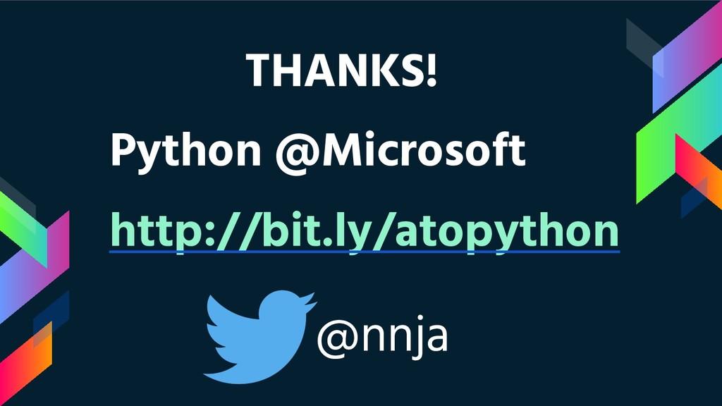 THANKS! Python @Microsoft http://bit.ly/atopyth...