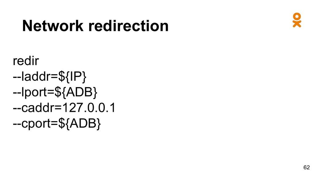 Network redirection redir --laddr=${IP} --lport...