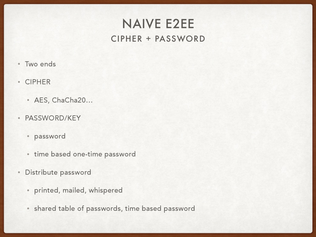 CIPHER + PASSWORD NAIVE E2EE • Two ends • CIPHE...