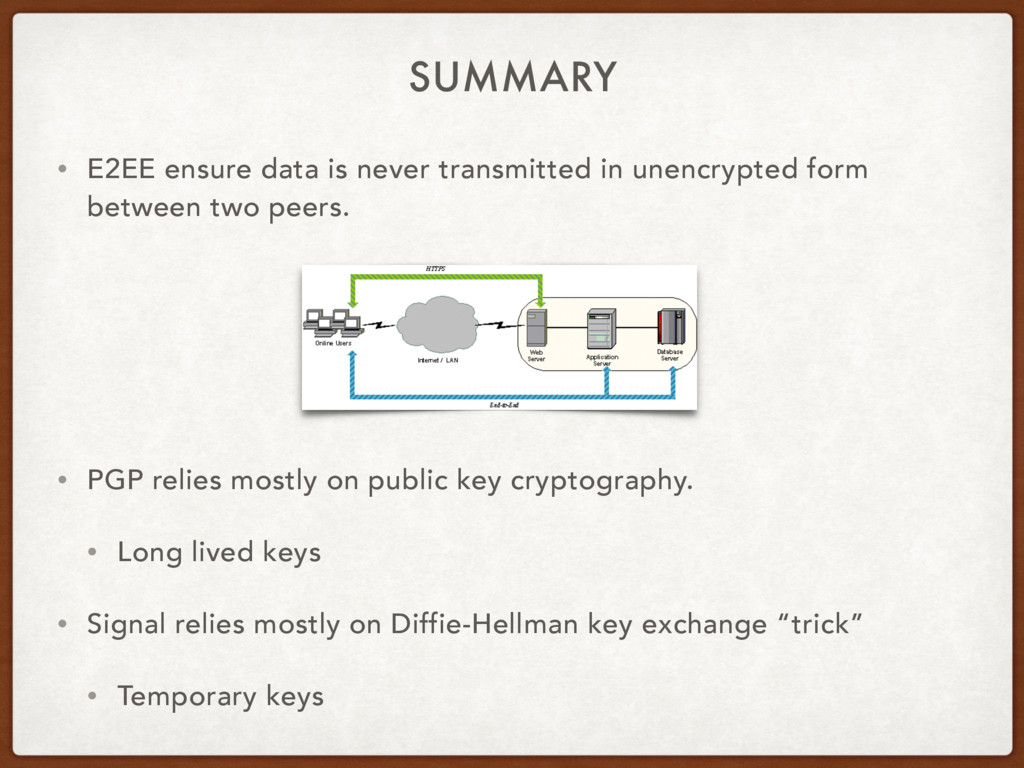 SUMMARY • E2EE ensure data is never transmitted...